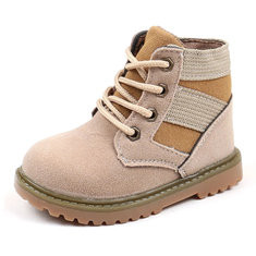 Boys Girls Stitching Soft Flat Boots