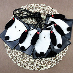 Cartoon Cute White and Black Dog Shoulder Bags Crossbody Bags-US$7.52