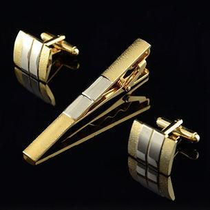 Men Matte Tie Clip Suit Cufflinks Business Silver Golden Cufflink Tie Clip -RM36.36