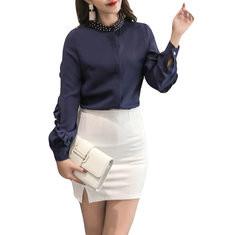 Beaded Stand Collar Long Sleeve Cotton Shirt-RM118.60