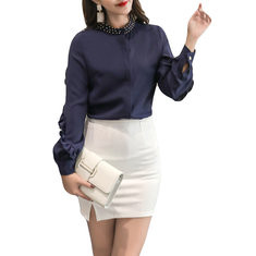 Beaded Stand Collar Long Sleeve Cotton Shirt-RM118.60