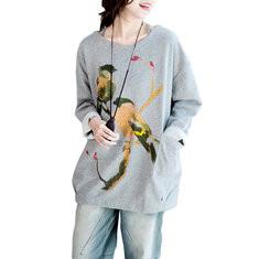 Bird Printed Long Sleeve O-neck Casual Shirt-RM158.94