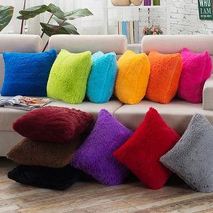 Plush Solid Color Cushion Pillowcase Waist Cushion Cover Bags Home Car Deco - RM16.97