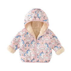 Animal Print Girls Fleece Coat For 2Y-9Y-US$32.