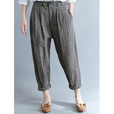 Loose Pockets Plaid Harem Pants-RM171.80
