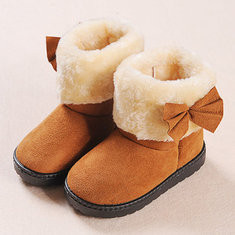 Girls Suede Bowknot Warm Lining Boots