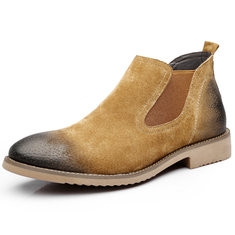 Men Leather Slip Resistant Slip On Casual Boots-RM225.38