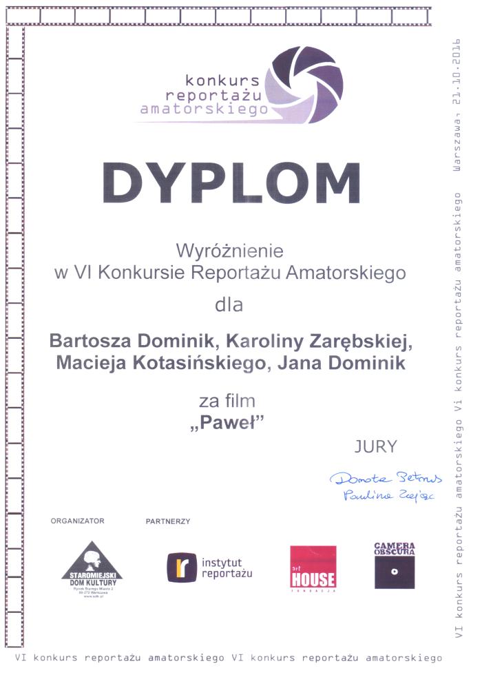Wyróżnienie w VI Konkursie Reportażu Amatorskiego w Warszawie