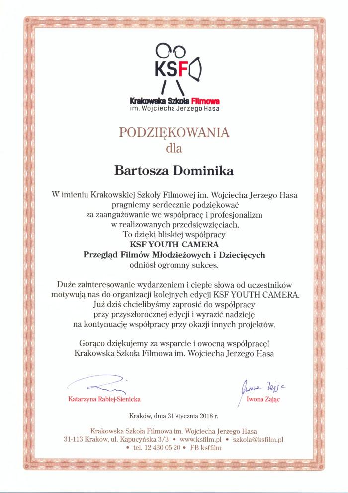 Podziękowania dla Bartosz Dominika
