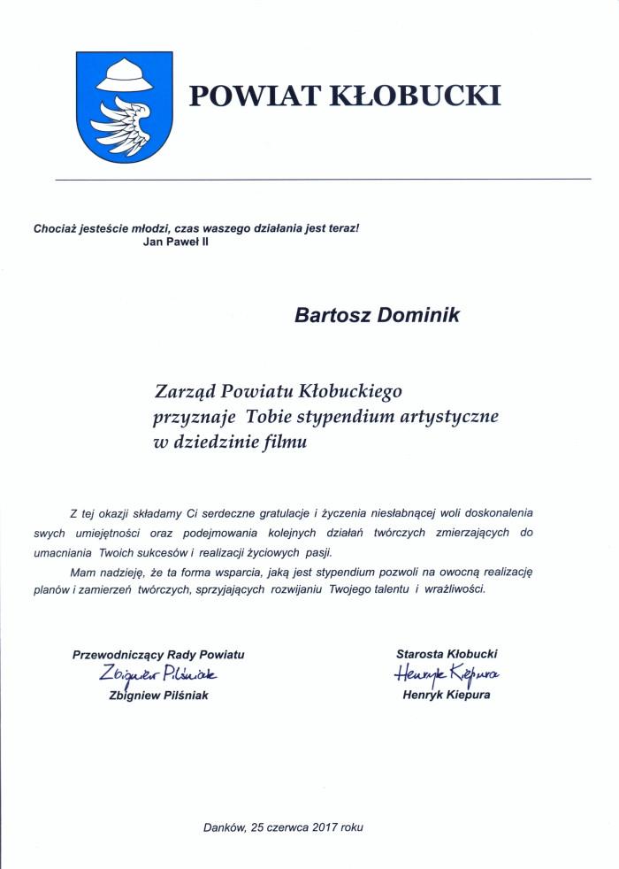 Stypendium artystyczne dla Bartosza Dominika