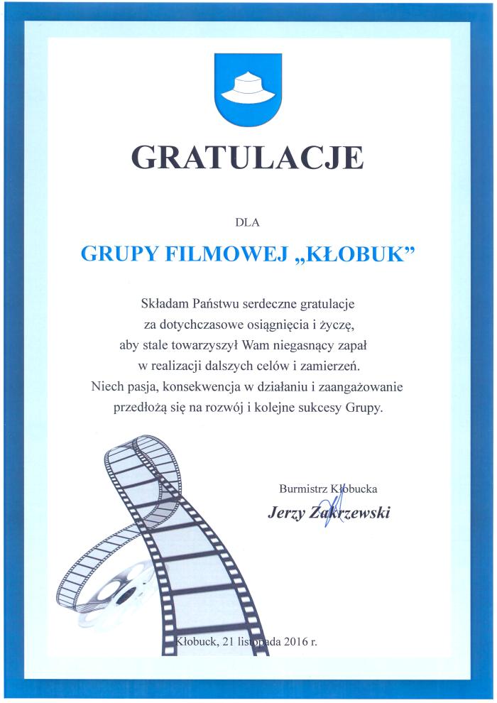 """Gratulacje dla Grupy Filmowej """"Kłobuk"""""""