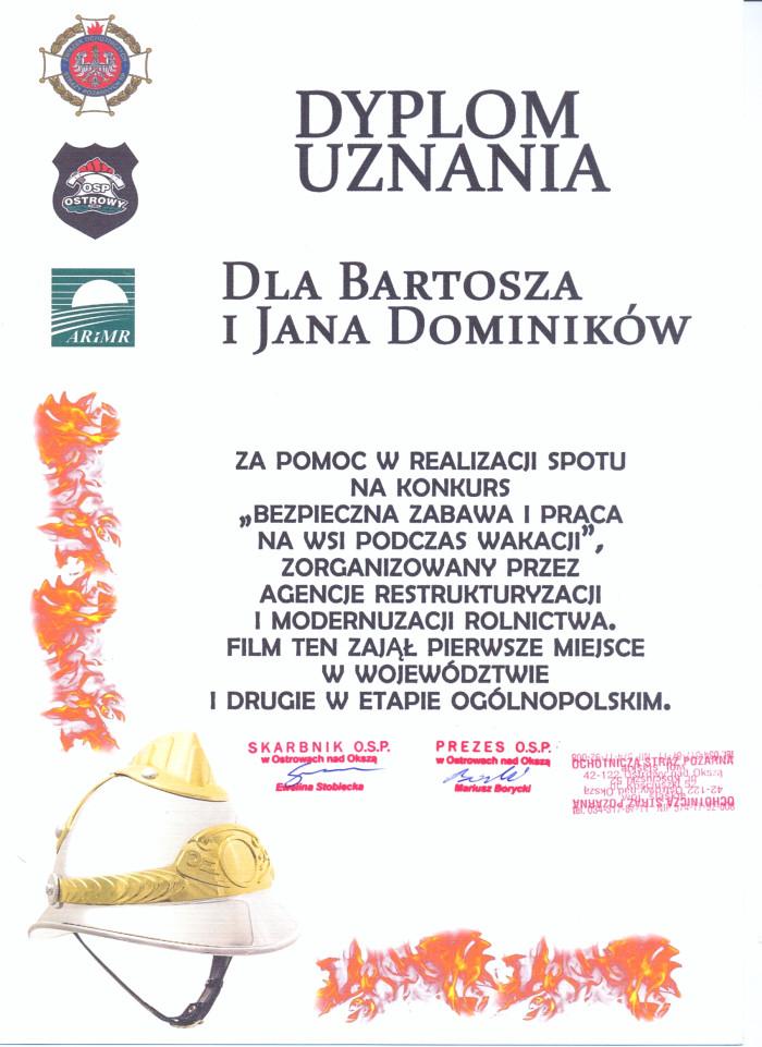 Dyplom uznania dla Bartosza i Jana Dominików