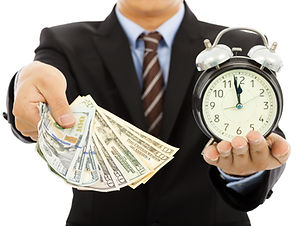Businessman Holding Money And Clock. Tim