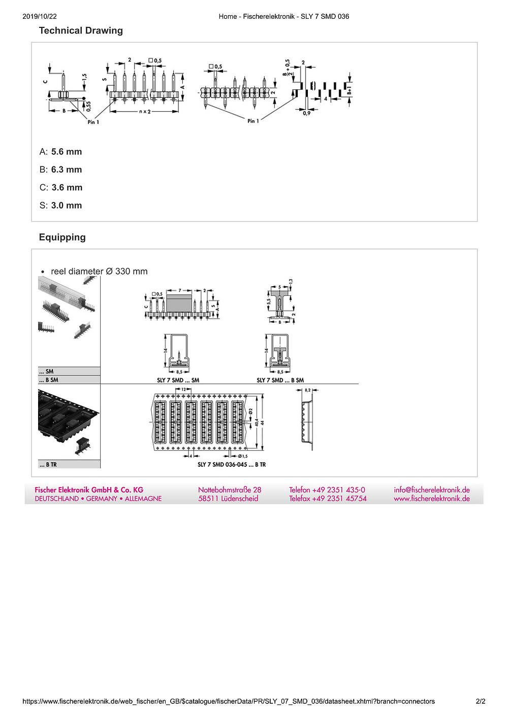 SLY 7 SMD 036 フィッシャー テープ&リール対応 ピンヘッダ 1列 2㎜ピッチ □0.5mm (1リール=650個巻)4-15ピン