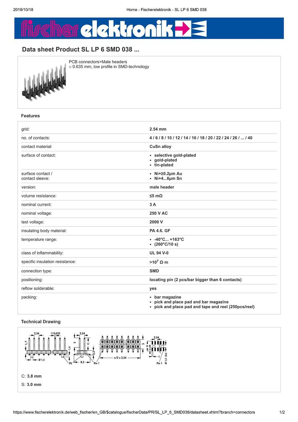 SL LP 6 SMD 038 フィッシャー テープ&リール対応 低背型 ピンヘッダ 2列 2.54㎜ピッチ □0.635mm (1リール=250個巻)4-40ピン