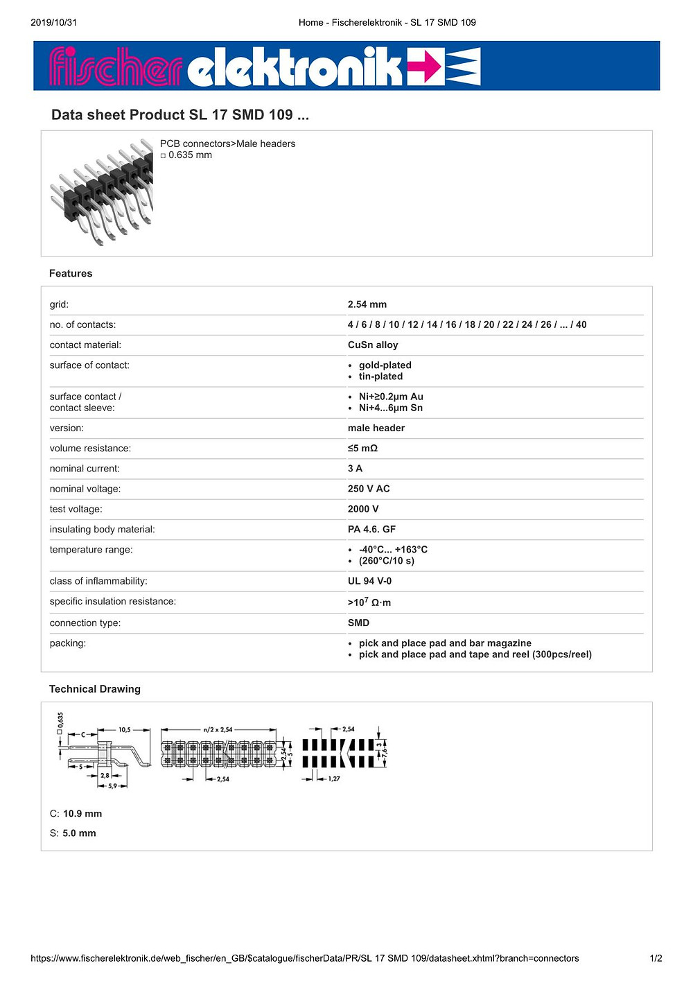 SL 17 SMD 109 フィッシャー テープ&リール対応 表面実装用ピンヘッダ ライトアングル2列 2.54㎜ピッチ □0.635mm 4-40ピン