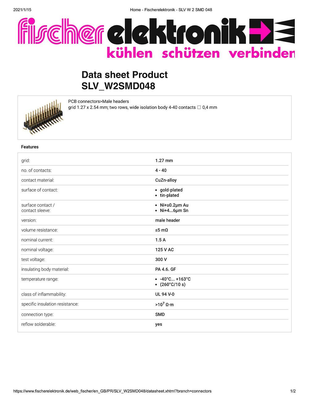 SLV W 2 SMD 048 ピンヘッダ 1.27mm ピッチ 2列