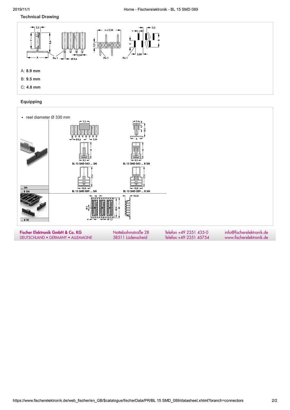 BL15 SMD 089 フィッシャー テープ&リール対応 表面実装用 ピンソケット 1列 2.54㎜ピッチ (1リール=400個巻)4-20コンタクト
