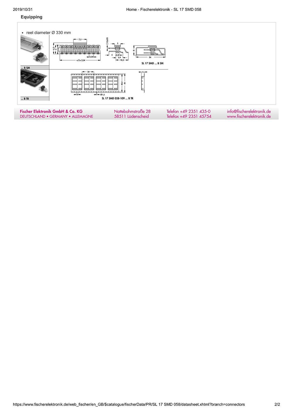 SL 17 SMD 058 フィッシャー テープ&リール対応 表面実装用ピンヘッダ ライトアングル2列 2.54㎜ピッチ □0.635mm 6-26ピン