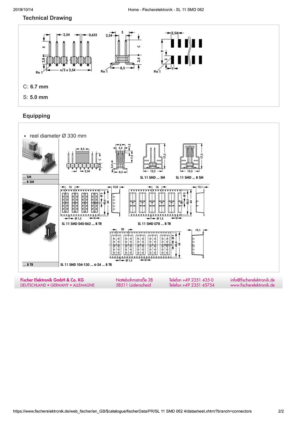 SL 11 SMD 062 フィッシャー テープ&リール対応 ピンヘッダ  2列 2.54㎜ピッチ □0.635mm (1リール=250個巻)6-24ピン