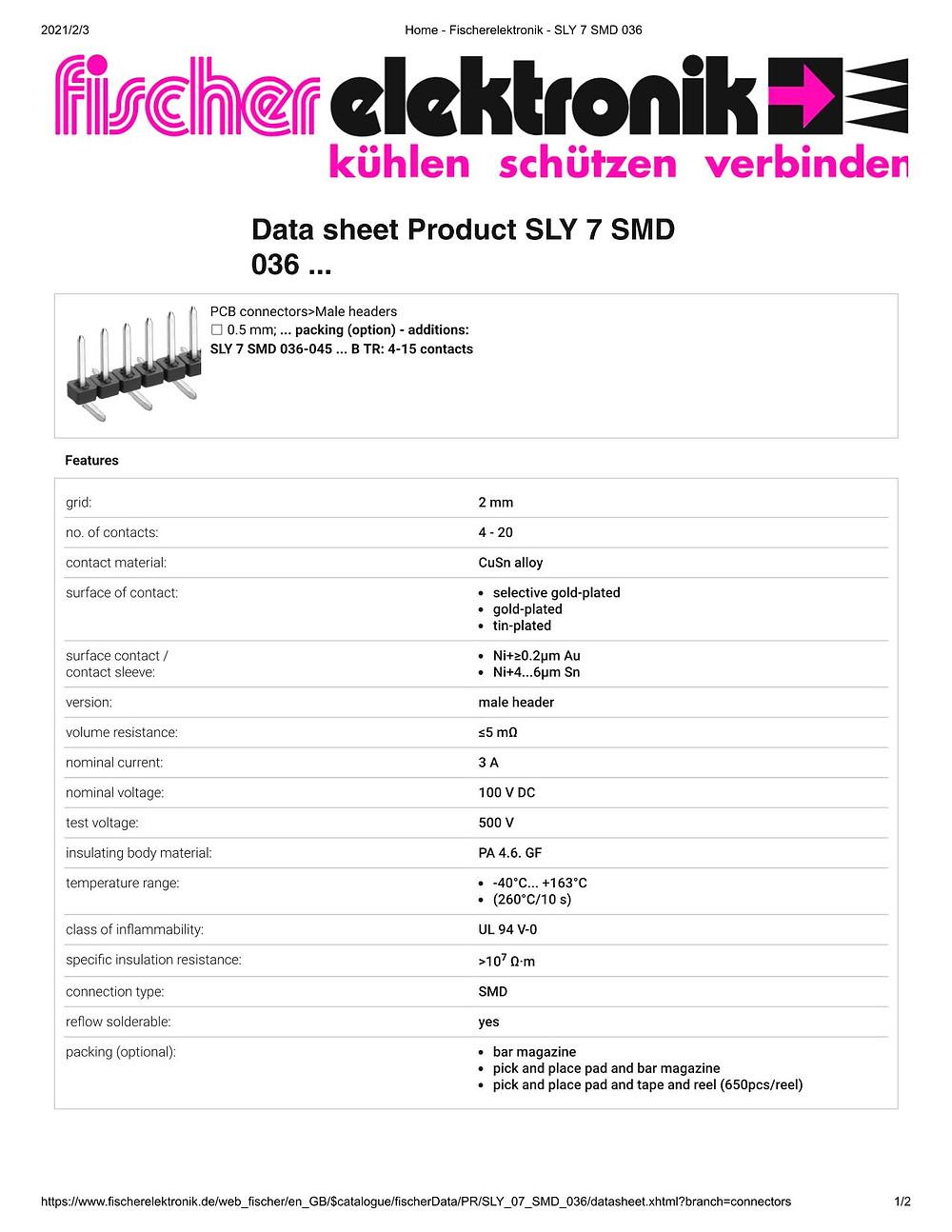 SLY 7 SMD 036 フィッシャー テープ&リール対応 ピンヘッダ 1列 2㎜ピッチ □0.5mm 4-20ピン