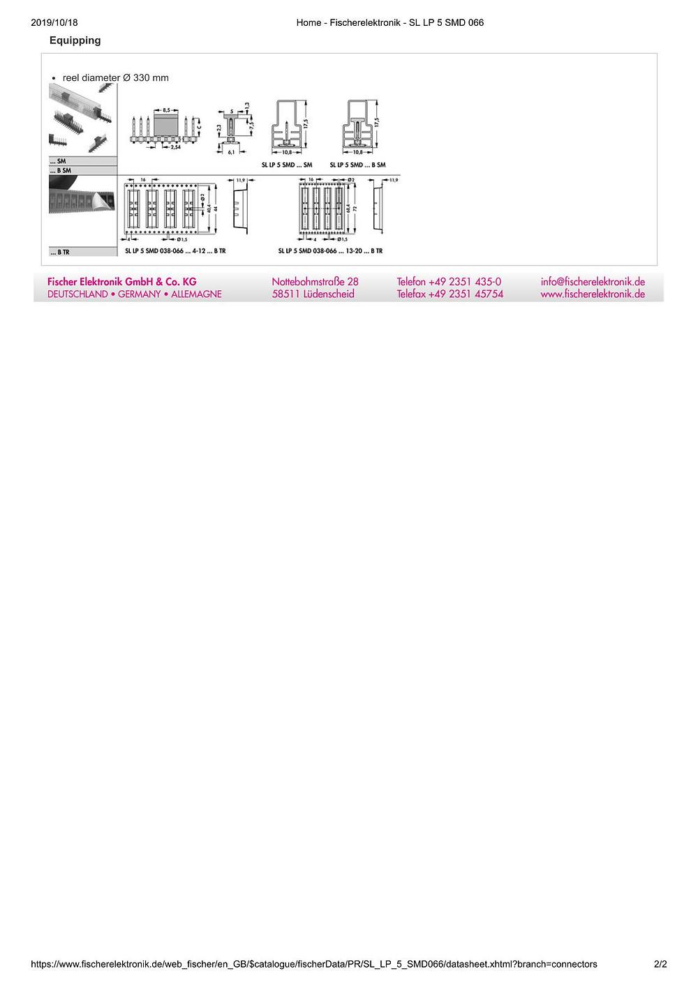 SL LP 5 SMD 066 フィッシャー テープ&リール対応 低背型 ピンヘッダ  2.54㎜ピッチ □0.635mm (1リール=250個巻)4-20ピン