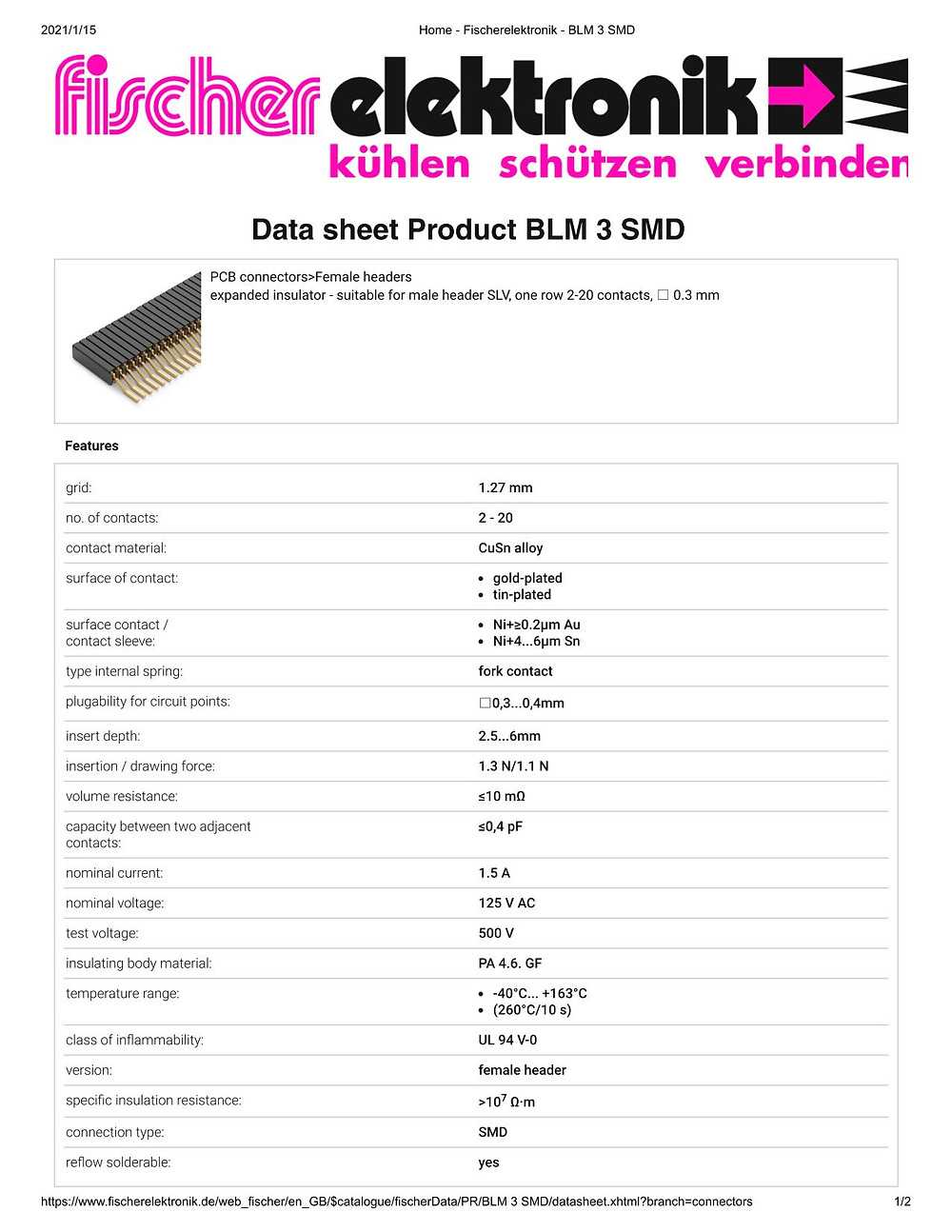 BLM 3 SMD 連結ソケット 1.27mm ピッチ 平行連結用