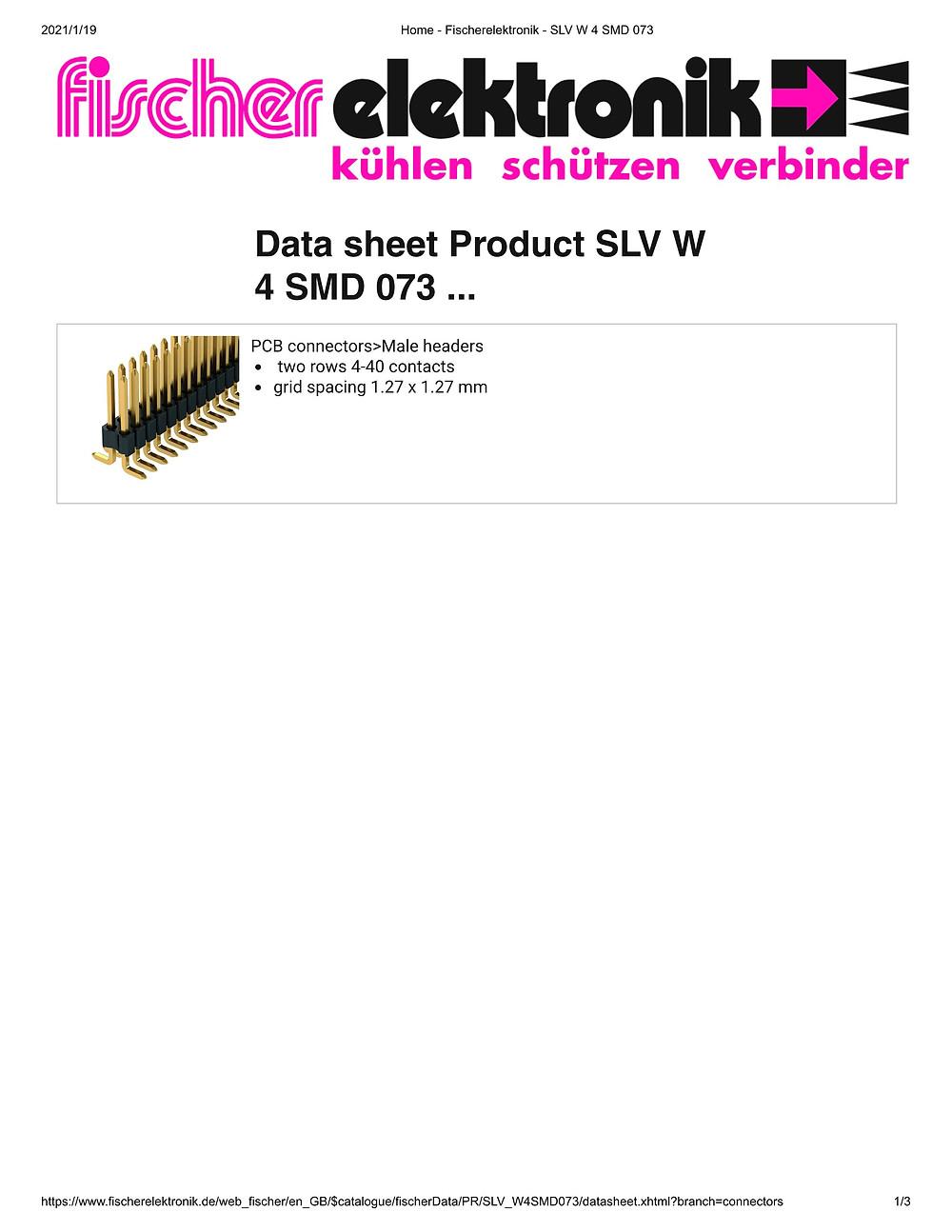 SLV W 4 SMD 073 ピンヘッダ 1.27mm ピッチ 2列