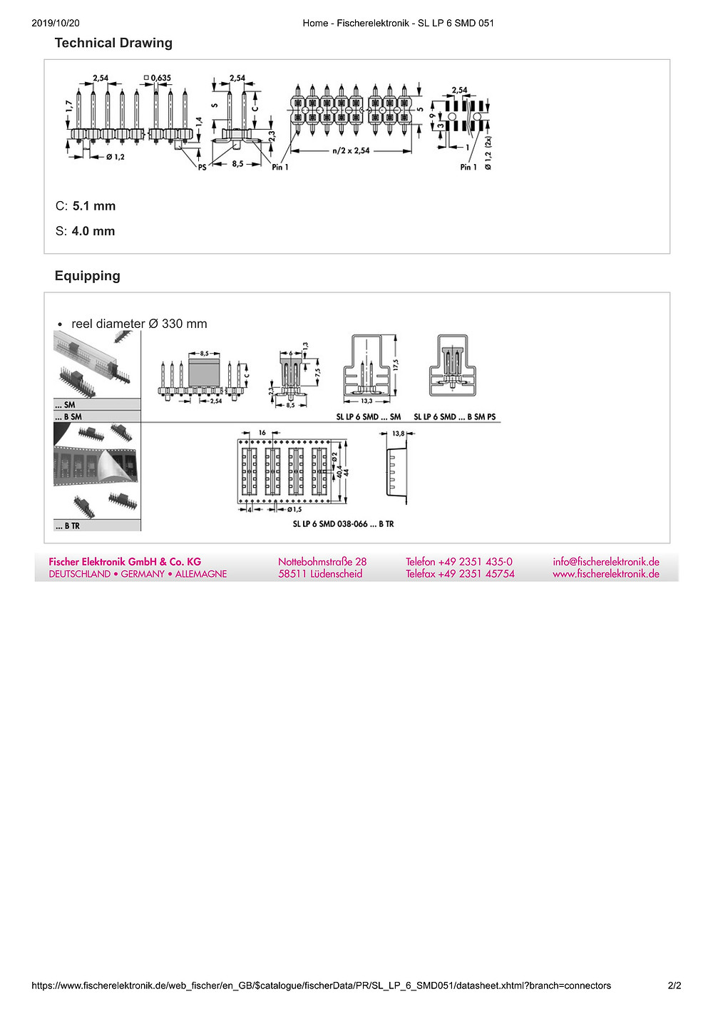 SL LP 6 SMD 051 フィッシャー テープ&リール対応 低背型 ピンヘッダ 2列 2.54㎜ピッチ □0.635mm (1リール=250個巻)4-40ピン