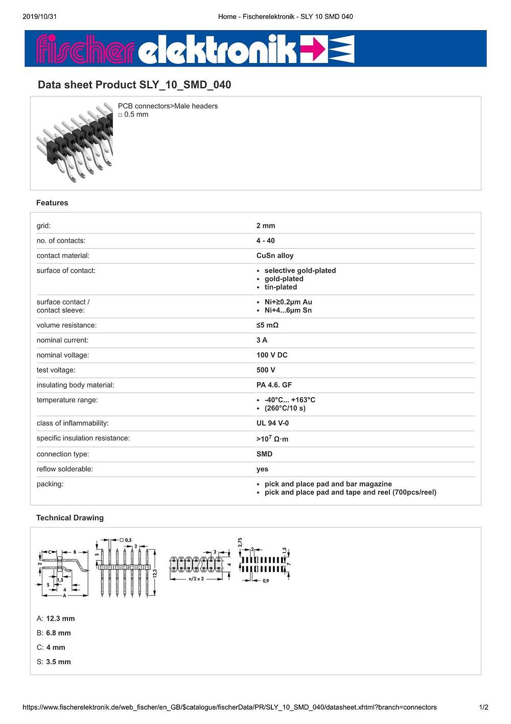 SLY 10 SMD 040 フィッシャー テープ&リール対応 表面実装用ピンヘッダ ライトアングル 2列 2㎜ピッチ □0.5mm (1リール=700個巻)4-40ピン