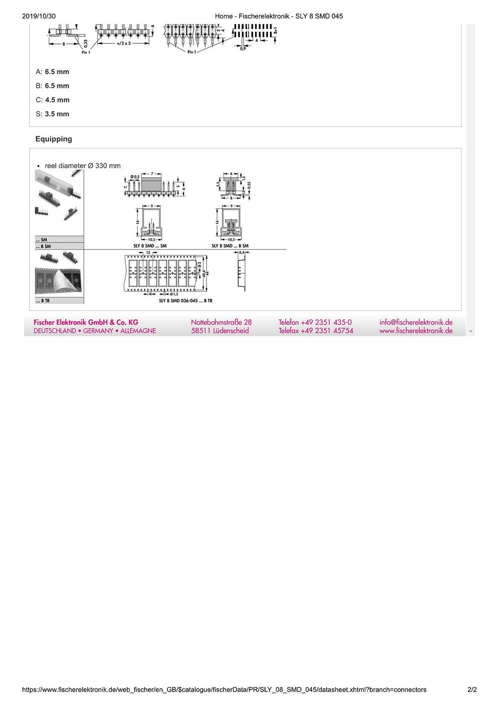 SLY 8 SMD 045 フィッシャー テープ&リール対応 ピンヘッダ 2列 2㎜ピッチ □0.5mm (1リール=650個巻)4-40ピン