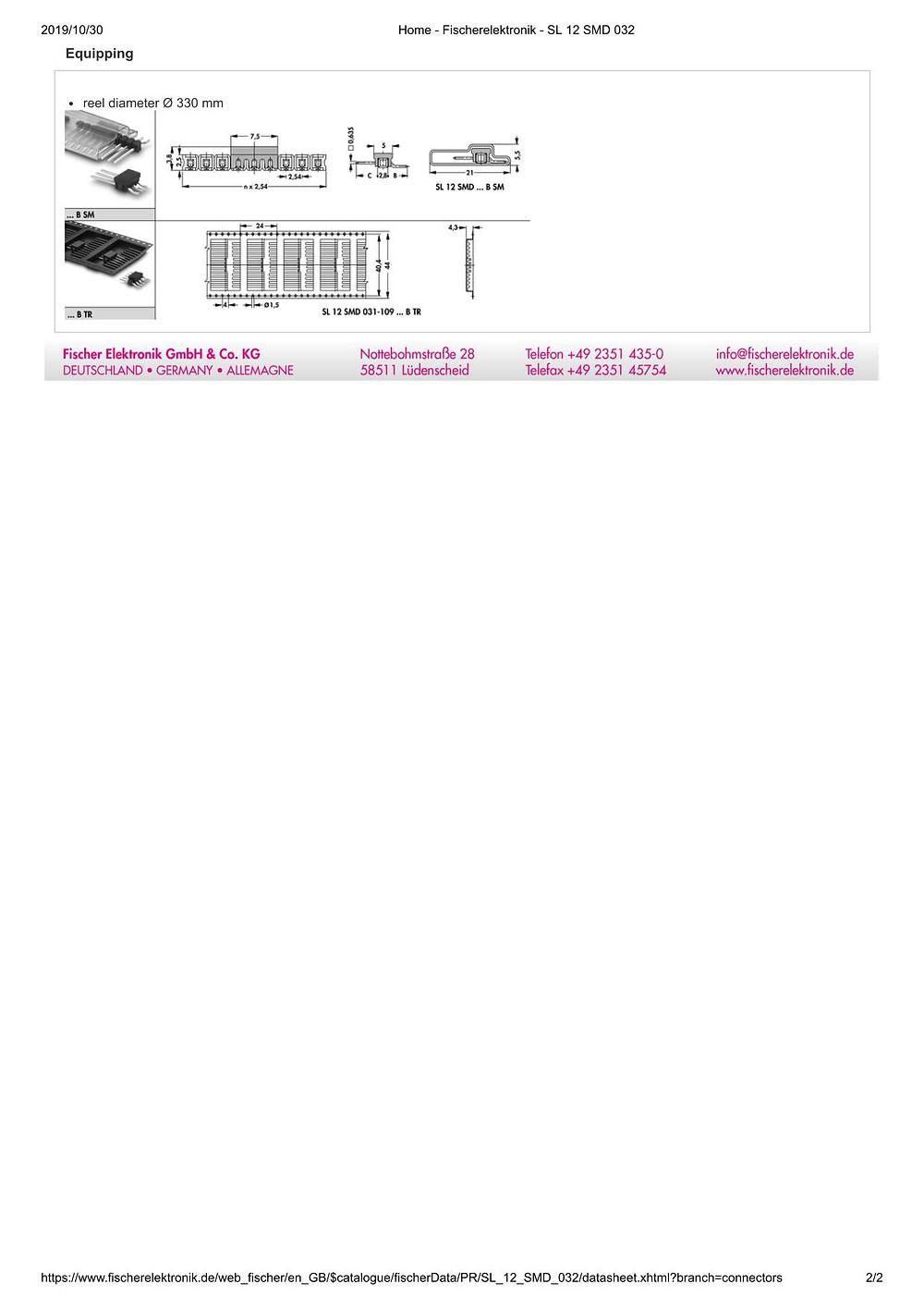 SL 12 SMD 032 フィッシャー テープ&リール対応 ピンヘッダ ライトアングル1列 2.54㎜ピッチ □0.635mm 2-20ピン