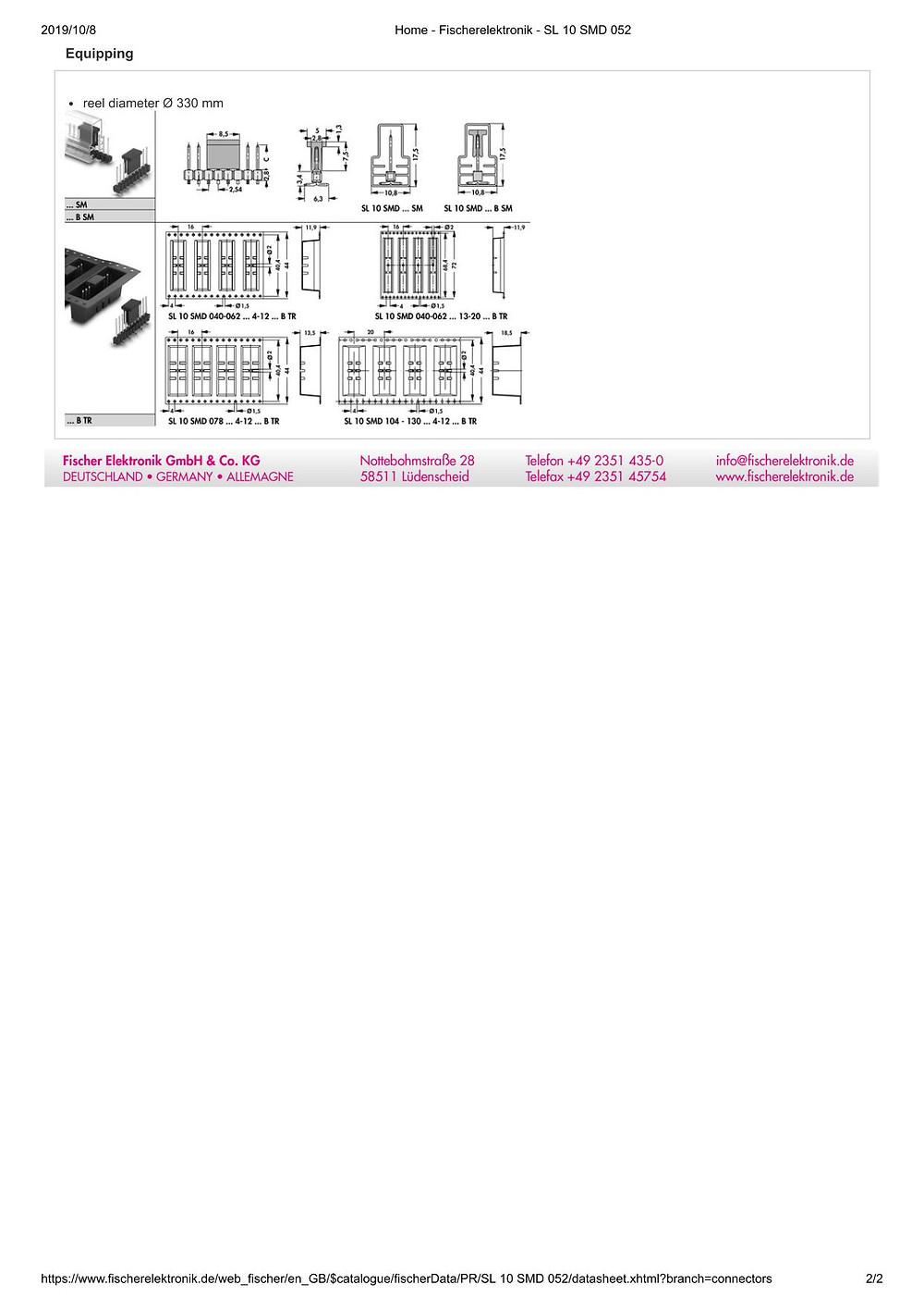 SL 10 SMD 052 フィッシャー テープ&リール対応 ピンヘッダ 2.54㎜ピッチ □0.635mm (1リール=250個巻)4-20ピン