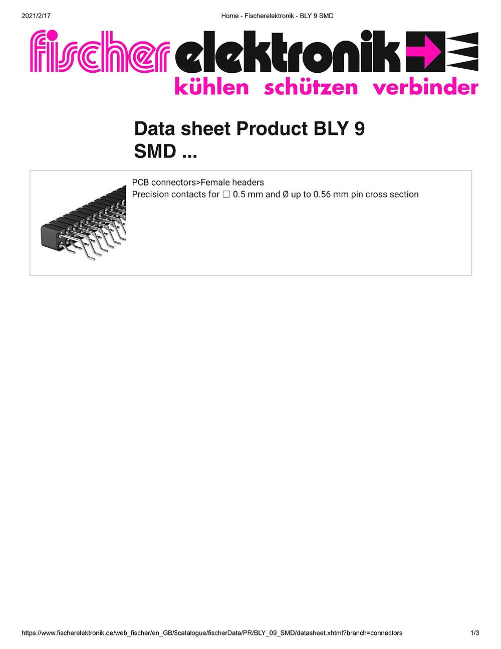 BLY 9 SMD フィッシャー テープ&リール対応 表面実装用連結ソケット 2mmピッチ 4-40極 2列 平行連結用