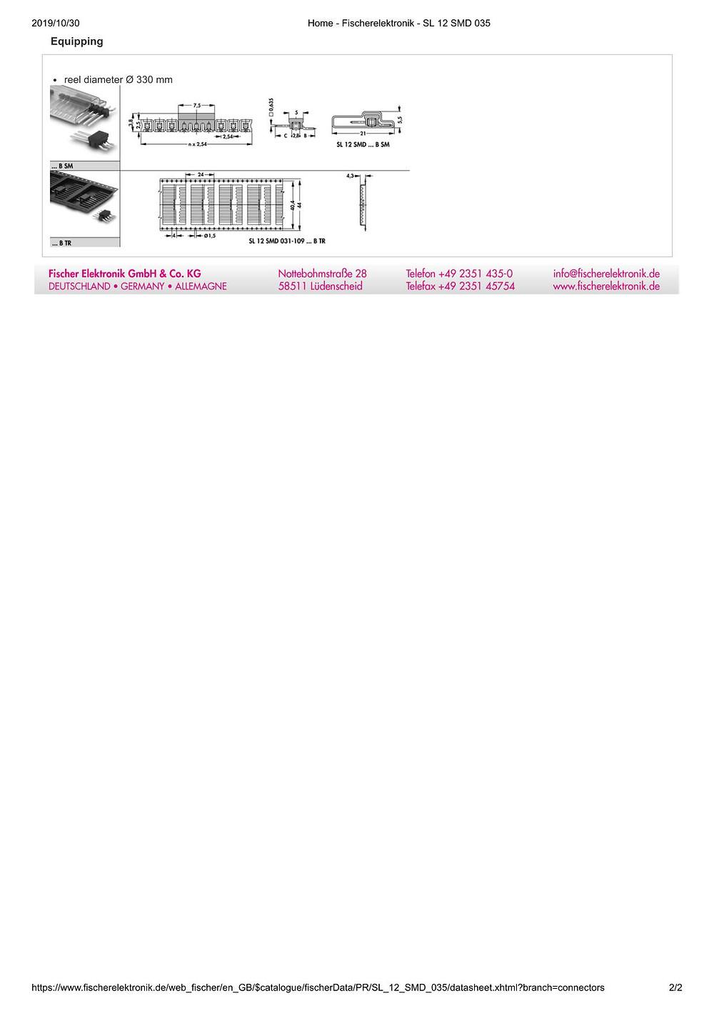SL 12 SMD 035 フィッシャー テープ&リール対応 ピンヘッダ ライトアングル1列 2.54㎜ピッチ □0.635mm 2-20ピン