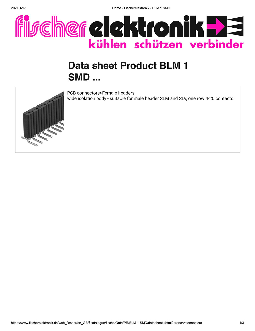 BLM 1 SMD 連結ソケット 1.27mm ピッチ