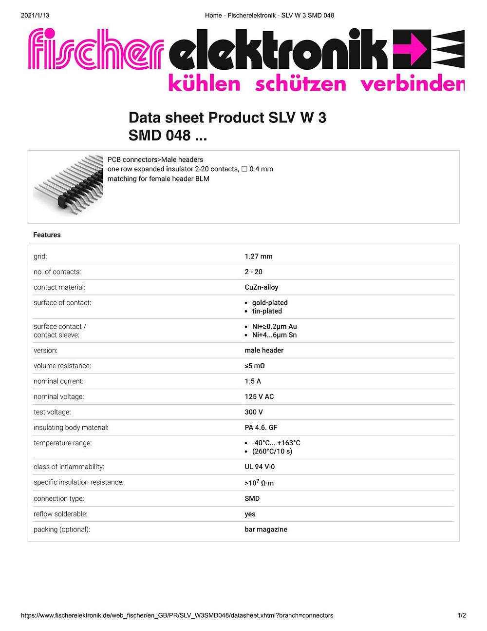 SLV W 3 SMD 048 ピンヘッダ 1.27mm ピッチ 平行連結用