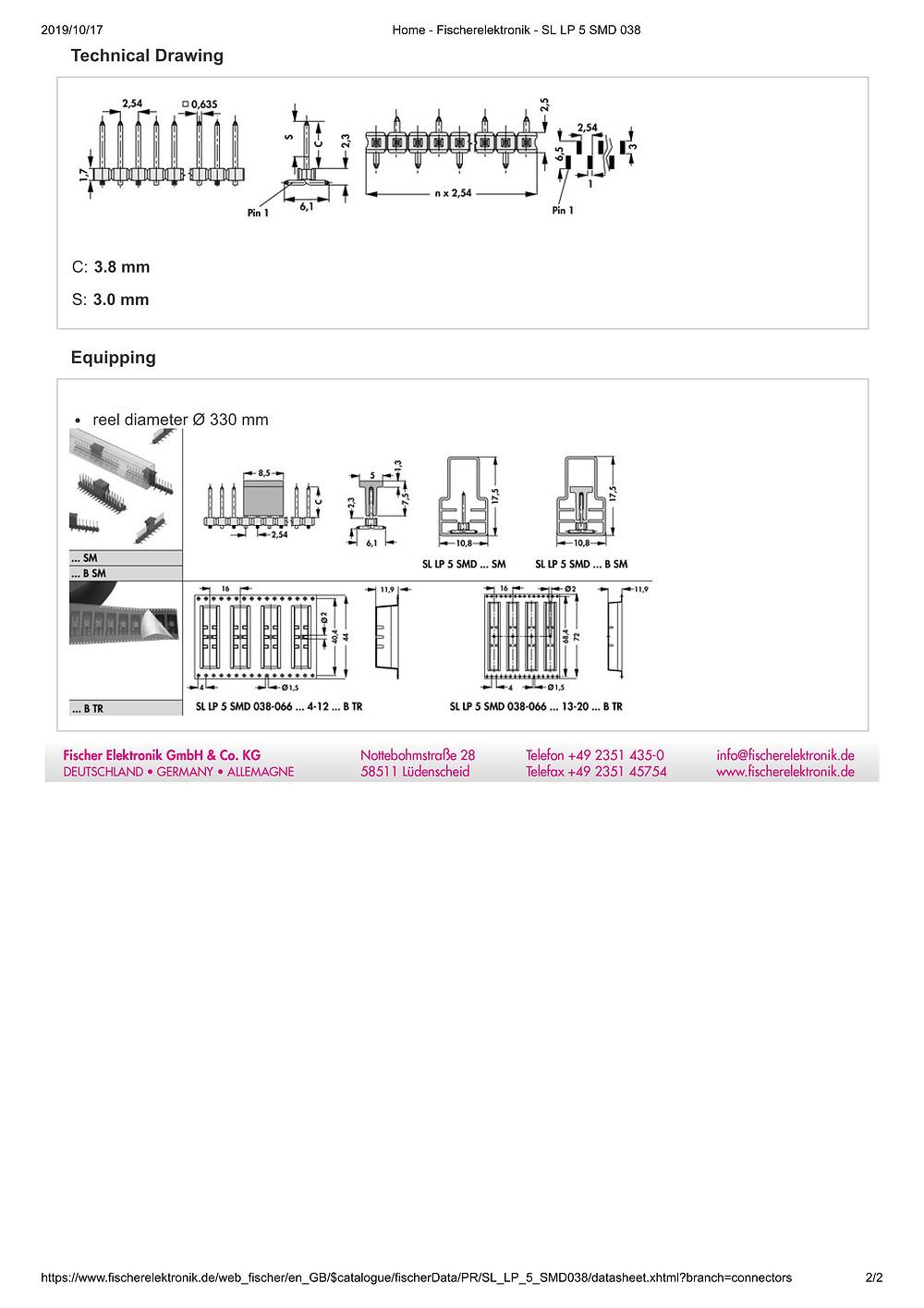 SL LP 5 SMD 038 フィッシャー テープ&リール対応 低背型 ピンヘッダ  2.54㎜ピッチ □0.635mm (1リール=250個巻)4-20ピン