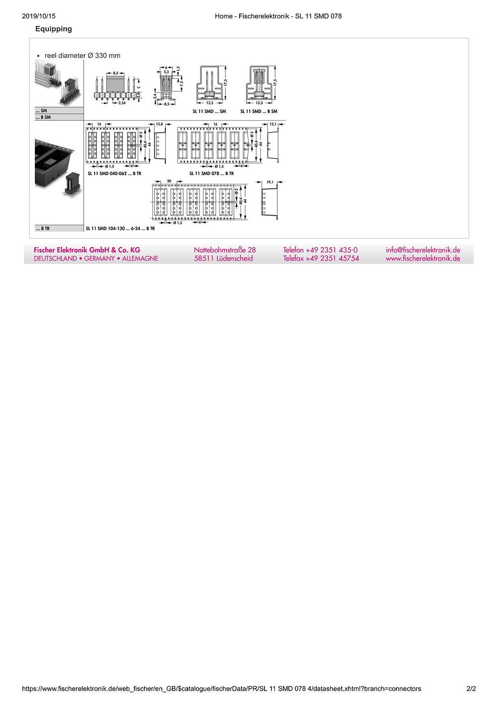 SL 11 SMD 078 フィッシャー テープ&リール対応 ピンヘッダ  2列 2.54㎜ピッチ □0.635mm (1リール=250個巻)6-24ピン