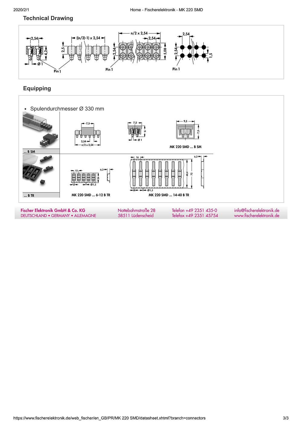 MK 220 SMD フィッシャー テープ&リール対応 表面実装用連結ソケット 2.54㎜ピッチ 2列 4-40コンタクト