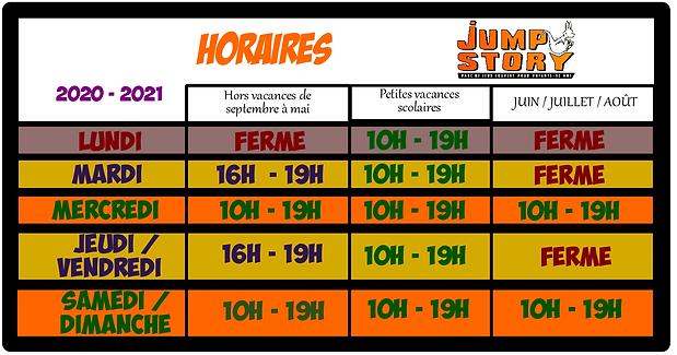 horaires 2020-21 jump story parc de jeux perpignan