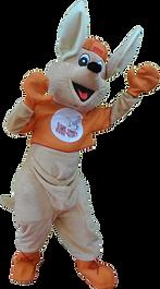Jumpy, le kangourou, la mascotte du Jump Story, parc de jeux pour enfants à Perpignan dans les Pyrénées Orientales.