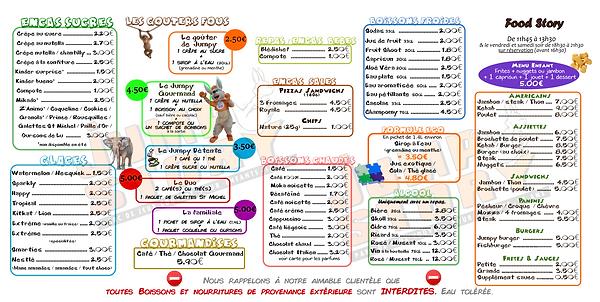 carte menu enfant repas jump story perpignan parc enfant pyrénées orientales