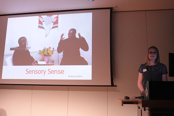 Becky Lyddon chairing conferences about Autism & Sensory Processing