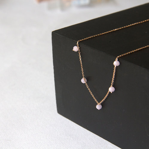 Gypsophila Pink Crystal Necklace