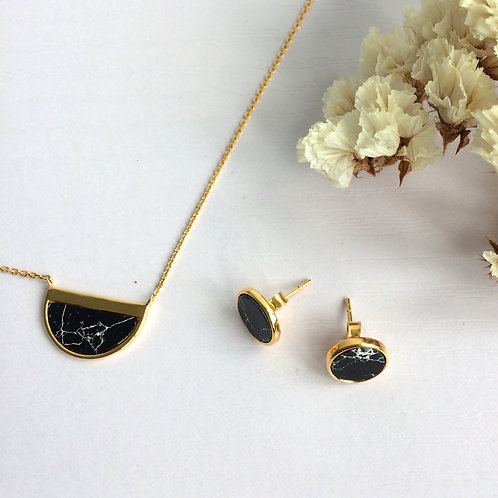 Black Howlite Half Moon Necklace