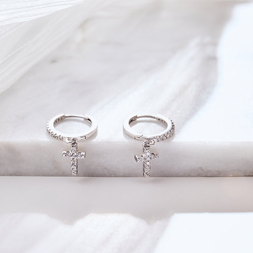 Dainty Sparkling Cross Charm Hoops