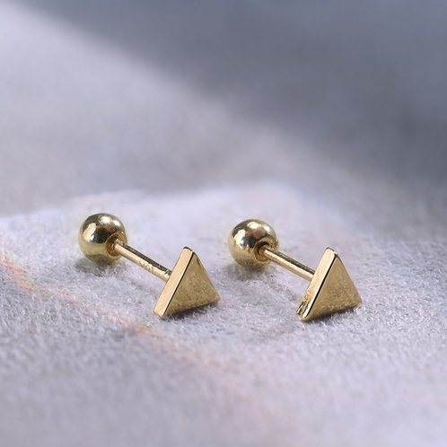 10 Karat Solid Triangle Studs in Yellow or White Gold