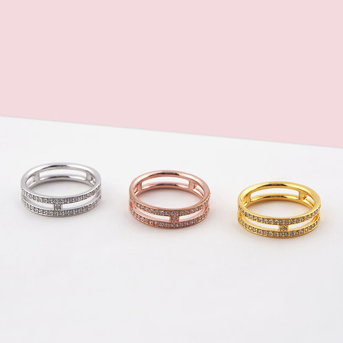 Stackable Zirconia Double Band Ring