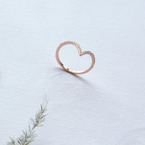 Stackable Zirconia Wishbone Ring